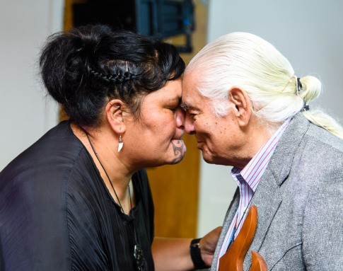 World Indigenous Tourism Summit 2018. Opening Session. Ben Sherman, Chairman of WINTA and Hon Nanaia Mahuta hongi. Photo by Mark Coote/ markcoote.com